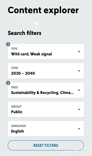 content explorer search filters